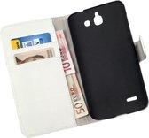 LELYCASE Bookcase Wit Flip Wallet Hoesje Huawei Ascend G730