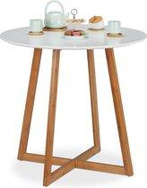 relaxdays eettafel rond - keukentafel - 2 personen - Scandinavisch - wit - 75 x 80 cm
