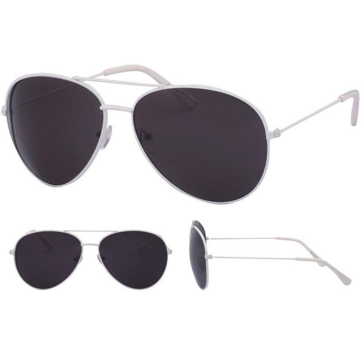 Aviator zonnebril wit met zwarte glazen voor volwassenen - Piloten zonnebrillen dames/heren