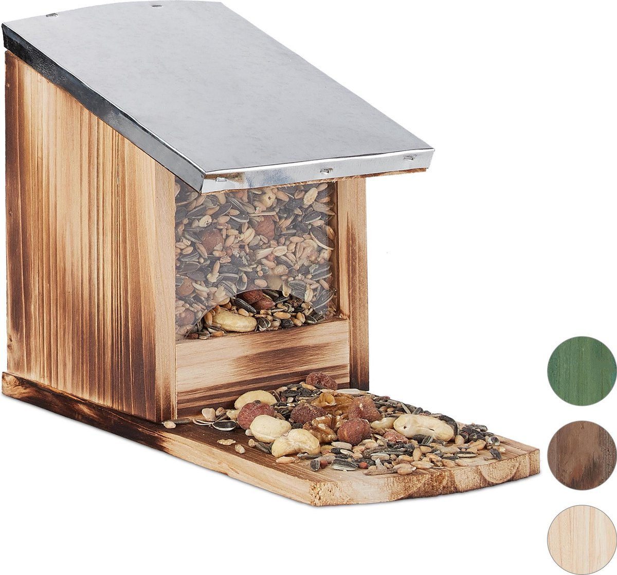 relaxdays eekhoorn voederhuisje - metalen dak - hout - voederhuis - voederkast Vlammen