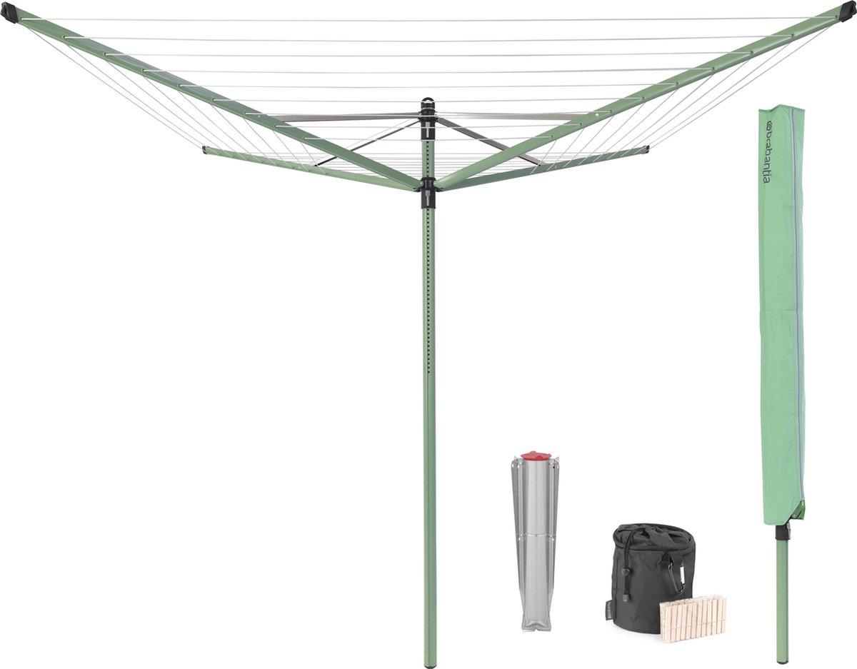 Brabantia Lift-O-Matic Droogmolen met Metalen Grondanker, Beschermhoes, Wasknijpertasje en Wasknijpe