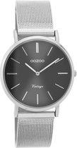 OOZOO Vintage C9939 Zilverkleurig Zwart Horloge 32mm