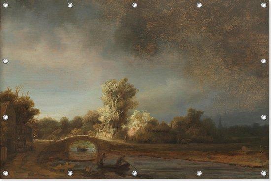 Landschap met stenen brug   Rembrandt van Rijn   ca. 1638   Kunst   Tuindoek   Tuindecoratie   90CM x 60CM   Tuinposter   Spandoek   Oude meesters
