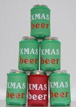 4 x bier blik koelhoudhoes Kerstmis thema| groen | Feestdagen kado idee