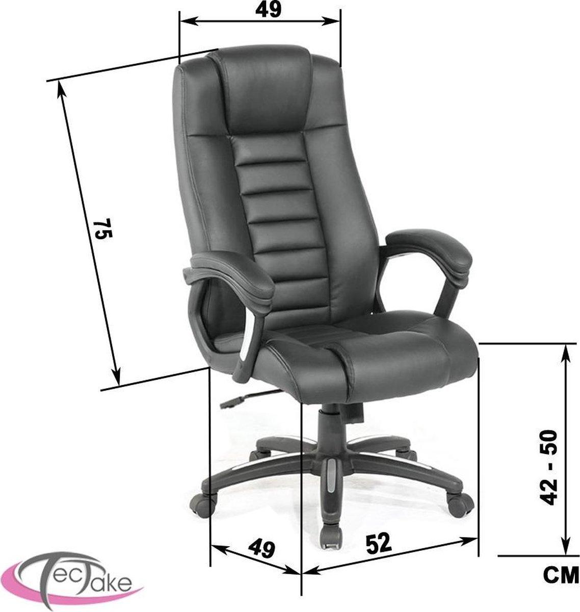 Tectake Luxe design Bureaustoel - Zwart - Tectake