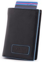 Figuretta leren RFID uitschuifbare creditcardhouder - Portemonnee - Anti skim pasjeshouder - Inclusief sleutelhanger - Blueline Black