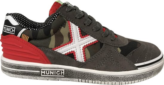 Munich kid shoe Camo grey / Red - Maat 40