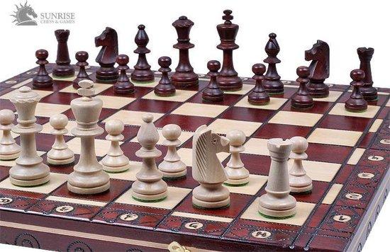 Afbeelding van het spel Sunrise-schaakbord met schaakstukken – Schaakspel -49x49cm. Luxe uitvoering