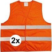 2 Stuks ! Fluorescerend Oranje Reflecterend Wegenbouw Veiligheidsvest - One size fits all | Fluorescerend | Veiligheids Vest | Veiligheidshesje | Wegwerkersvest | Werkkleding | Hesje voor Klussen | Veiligheid | Pech | BHV | Fluor |