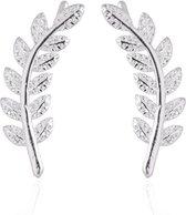 Joboly Trendy blad veer leaf oorbellen langs je oorlijn kort - Dames - Zilverkleurig