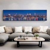 Canvas Schilderij 40x160cm * Skyline Van New York * - Kunst aan je Muur - Realistisch - Kleur - 40 x 160 cm