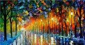 Allernieuwste Canvas Schilderij Abstract Landschap - Kunst - Abstract Modern Grafitti - Poster - 60 x 120 cm - Kleur