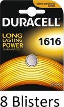 8 Stuks (8 Blisters a 1 st) Duracell Knoopcel Batterij 1616 Lithium