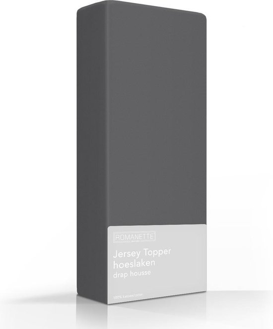 Topper Hoeslaken Romanette Jersey Antraciet-80/90/100 x 200/210/220 cm
