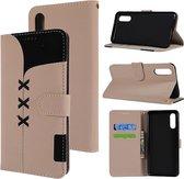 Let op type!! Stof stiksels borduurwerk horizontale Flip lederen draagtas met houder & kaartsleuven & portemonnee voor Huawei P20 (wit)