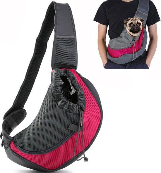 Dog 'n Go - Draagtas Hond - Roze - Maat S - Hondentas - Schoudertas - Reistas Hond - Stof