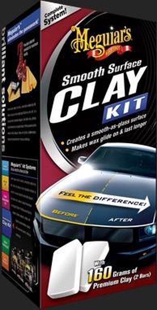 Meguiars G1016 Smooth Surface Clay Kit Bevat twee 80gr Clay Bars, 473ml Quik Detailer + Microfiber T