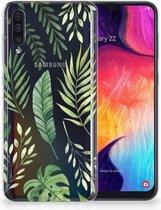 Backcase Samsung Galaxy A50 Hoesje TPU-siliconen Groen Leaves