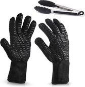 Hittebestendige Barbecue Handschoen – 2 Stuks - Incl. Tang - Tot 250 ℃ - N407 Gecertificeerd – Ovenwanten – Zwart