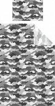 1 persoons dekbedovertrek legerkleuren camouflage grijs