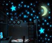 Glow In The Dark Sterren Met Maan - Lichtgevende Sterrenhemel Decoratie Stickers - Blauw