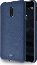 Azuri flexible cover with sand texture - blauw - voor Nokia 6