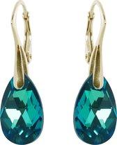 Oorbellen met Swarovski Kristal Druppel Emerald Groen - Goudkleurig Zilver - 16MM