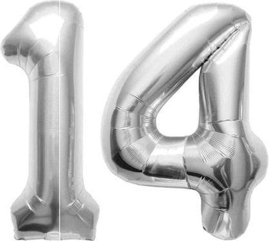 Cijfer 14 Zilver Folieballon 86 cm Excl. Helium
