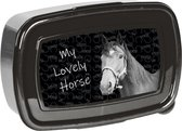 Animal Pictures Lovely Horse - Lunchbox - 18,5 x 13 cm - Zwart