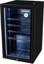 Gastro-Cool KW90 - Midi koelkast met glazen deur 88 Liter - Zwart