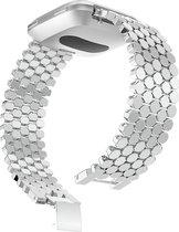"""Metaal schakel bandje """"Dots"""" Zilver geschikt voor Fitbit Versa (Versa 2, Versa Lite)"""