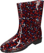Half hoge dames regenlaarzen met  rood/blauwe panter print - Rubberen laarzen/regenlaarsjes dames 38