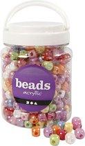 Plastic kralen, dobbelsteen, afm 10x10 mm, kleuren assorti, 700 ml