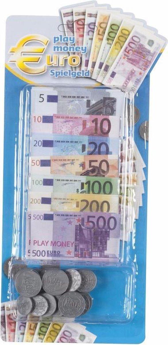 Speelgoed kassa Euro speelgeld 90 delig - Speelgoed munten en biljetten - Winkeltje spelen - Nepgeld