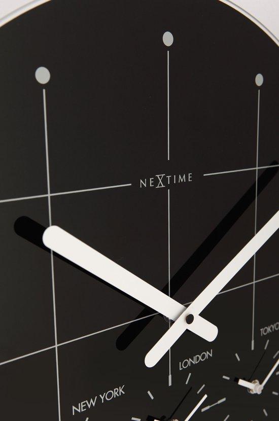 NeXtime Big City - Klok - Rond - Glas - Ø43 cm - Zwart