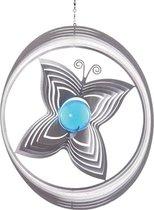 BlinQ Art Windspinner Vlinder RVS - 200mm rond - Glaskogel 35mm blauw