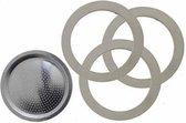 Bialetti Moka filterplaatje + rubber ringen - 3 en 4 kops