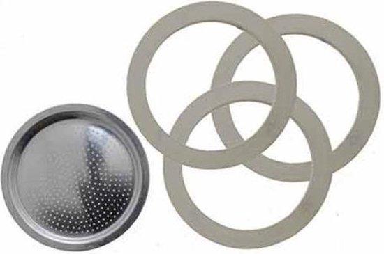 Bialetti Moka Express filterplaatje en drie rubber ringen 3/4 kops
