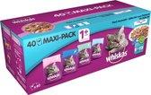 Whiskas 1+ Adult Voordeelpak Maaltijdzakjes - Vis in Gelei - Kattenvoer - 40 x 100 g