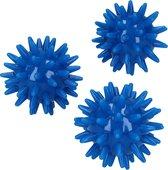 Massagebal – Set van 3 Kleine Massage Balletjes – voor Ontspannen van Handen en Voeten 5 cm | Hoge Dichtheid Massagestekels | Triggerpoint | Stekels | Lacrosse Bal – Blauw