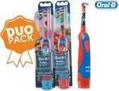 Oral-B Stages Power Kids elektrische tandenborstel (2 stuks) op batterijen met Disney Cars en Princess - DUO pack