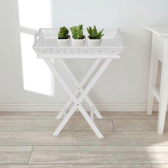 Bijzettafel tafel salontafel met dienblad gekruiste poten wit 57x37x11cm