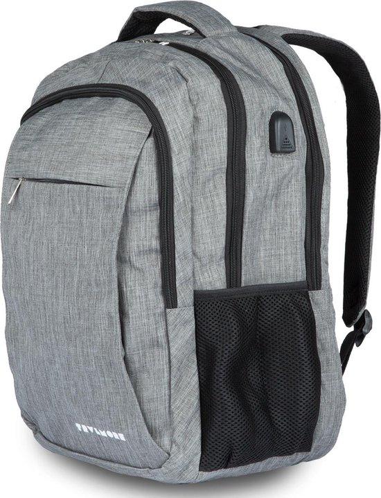 TravelMore XL Rugzak met 15.6 Inch Laptop Vak - Spatwaterdicht met USB Poort - Grijs
