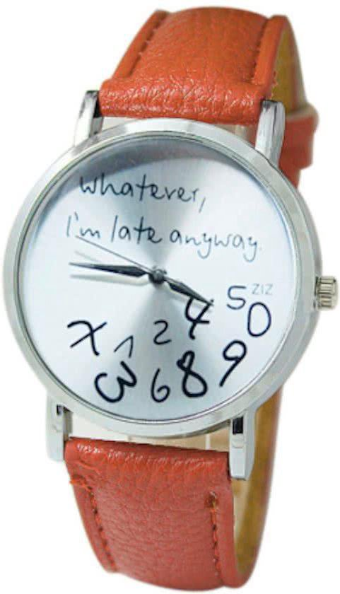 Hidzo Horloge Whatever I'm Late Anyway ø 37 mm – Bruin – In horlogedoosje