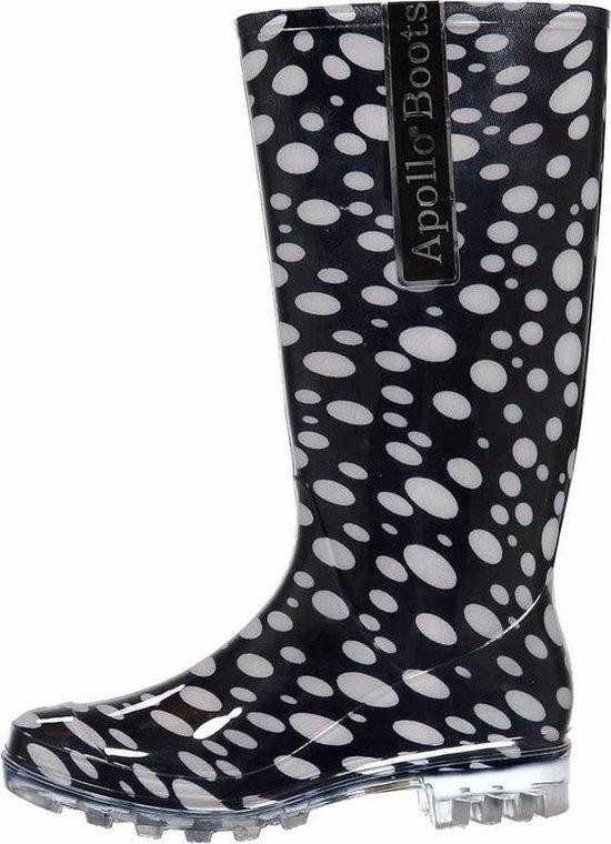 Dames laarzen zwart met witte stippen
