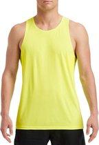 Sport hardloop singlet neon groen voor heren - Heren sportkleding hemd/top neon groen XL (42/54)