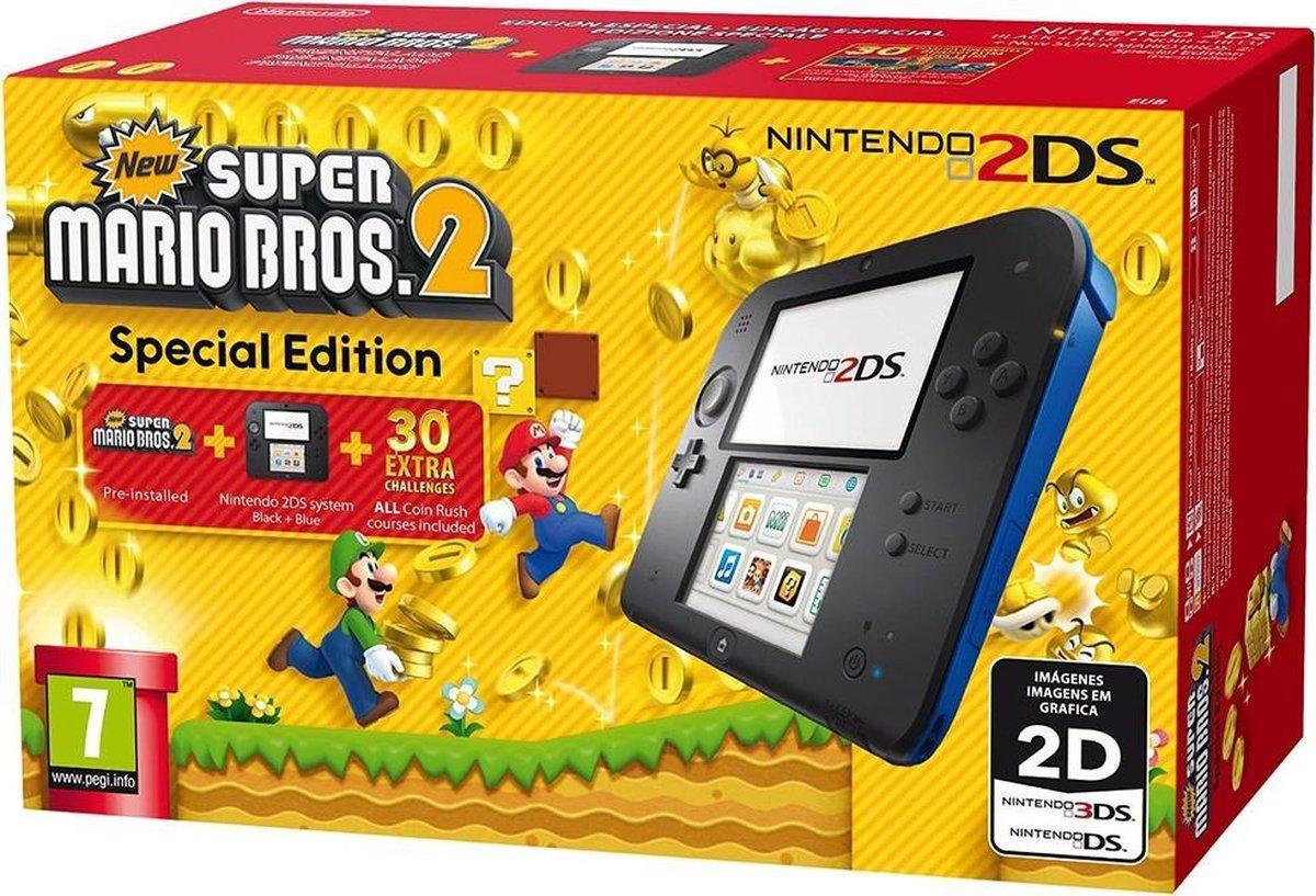 Nintendo 2DS Console - Zwart/Blauw - Limited Edition + New Super Mario Bros. 2