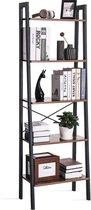 Retro Vintage Open Boekenkast Ladderkast - Industrieel Design Opbergrek - Boekenrek Opslagrek - Staande Wandkast - 5 Legplank Etages - Zwart