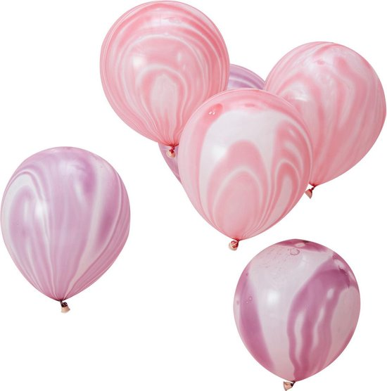 Ginger Ray Make a Wish - Marble ballonnen verjaardag Ø 28 cm - paars & roze - Set-10