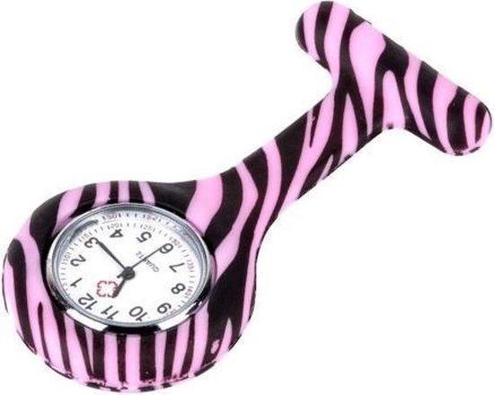 Verpleegster horloge jelly -  zebra- Roze - ABC-Led